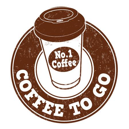 Caffè per andare grunge timbro di gomma su sfondo bianco, illustrazione vettoriale Archivio Fotografico - 43394800