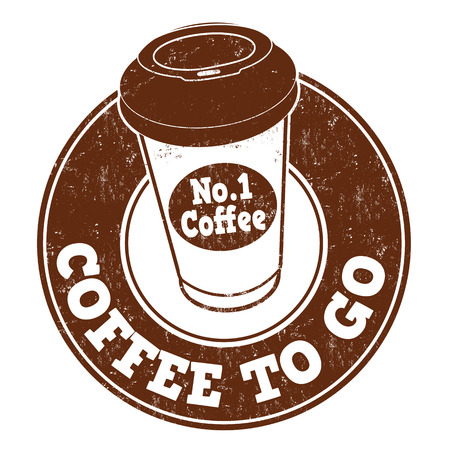 Coffee to go grunge rubber stamp on white background, vector illustration Çizim