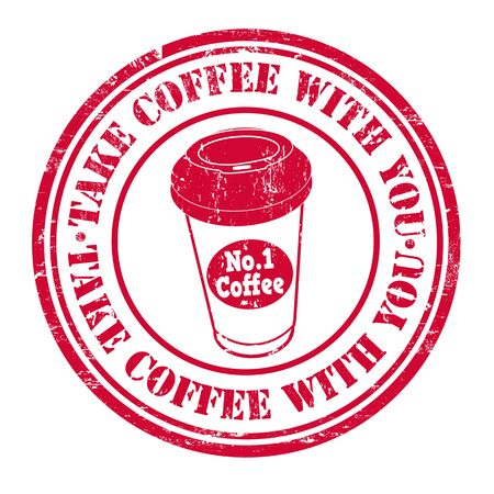 to go: Take coffee with you grunge rubber stamp on white background, vector illustration