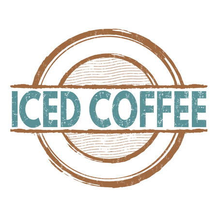iced: Iced coffee grunge rubber stamp on white background, vector illustration