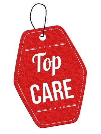 solicitude: Top Care  red leather label or price tag on white background, vector illustration