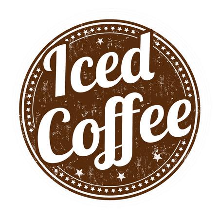 アイス コーヒー グランジ スタンプ白地、ベクトル図