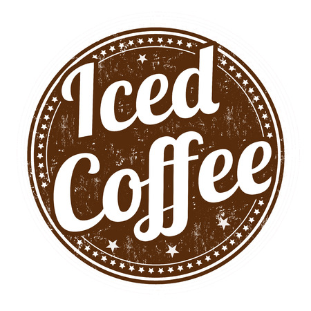 Iced coffee grunge rubber stamp on white background, vector illustration