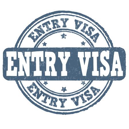 authorization: Entry visa grunge rubber stamp on white background, vector illustration Illustration