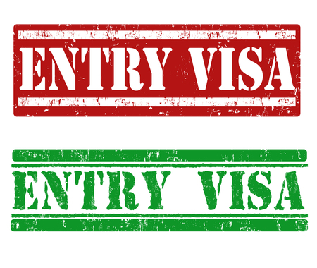 the applicant: Entry visa grunge rubber stamps on white background, vector illustration
