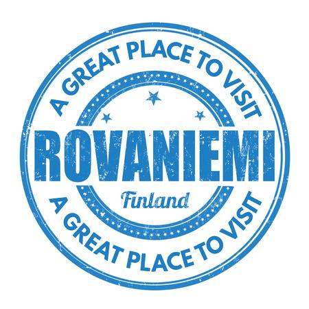 best travel destinations: Rovaniemi grunge rubber stamp on white background, vector illustration