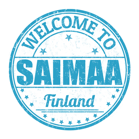 best travel destinations: Welcome to Saimaa grunge rubber stamp on white background, vector illustration Illustration