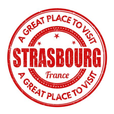 strasbourg: Strasbourg grunge rubber stamp on white background, vector illustration