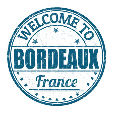 Welcome to Bordeaux grunge rubber stamp on white background, vector illustration Illustration
