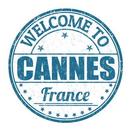 francaise: Welcome to Cannes grunge rubber stamp on white background, vector illustration Illustration