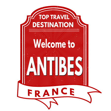 francaise: Welcome to Antibes grunge rubber stamp on white background, vector illustration