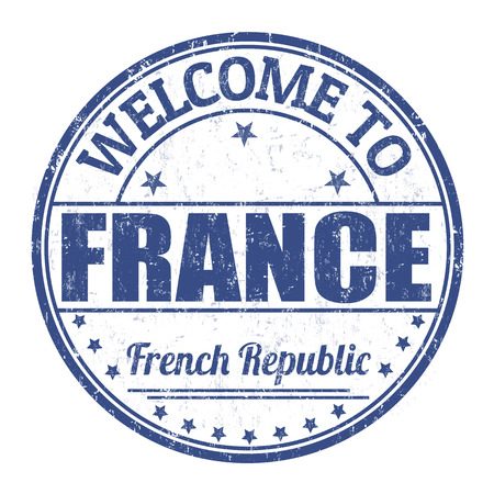 best travel destinations: Welcome to France grunge rubber stamp on white background, vector illustration