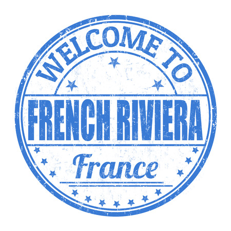 francaise: Welcome to French riviera grunge rubber stamp on white background, vector illustration Illustration
