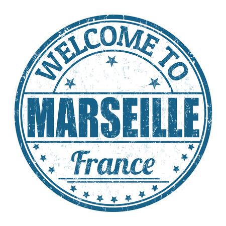 france stamp: Welcome to Marseille grunge rubber stamp on white background, vector illustration