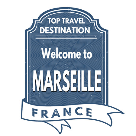 francaise: Welcome to Marseille grunge rubber stamp on white background, vector illustration