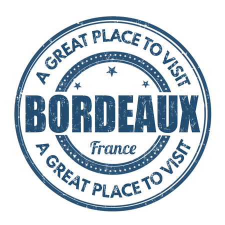 best travel destinations: Bordeaux grunge rubber stamp on white background, vector illustration Illustration