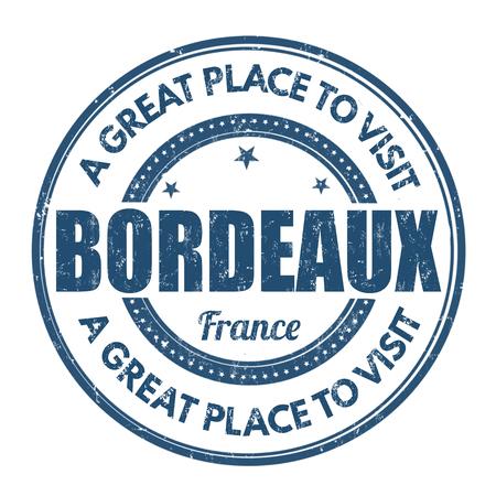 impress: Bordeaux grunge timbro di gomma su sfondo bianco, illustrazione vettoriale
