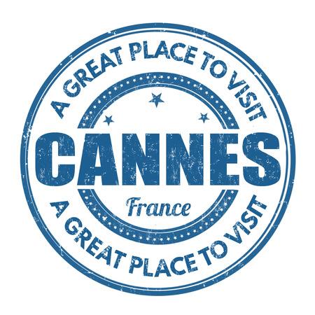 best travel destinations: Cannes grunge rubber stamp on white background, vector illustration