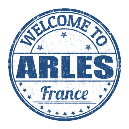 francaise: Welcome to Arles grunge rubber stamp on white background, vector illustration