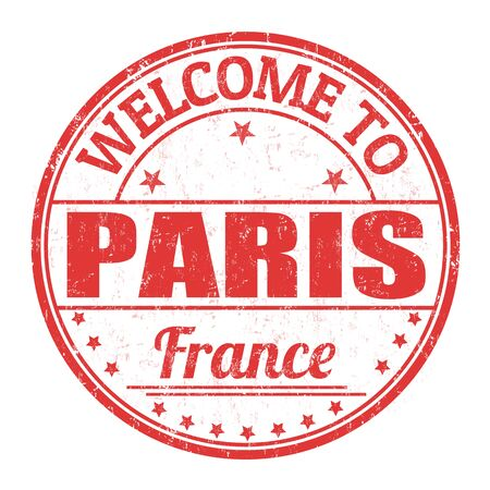 francaise: Welcome to Paris grunge rubber stamp on white background, vector illustration Illustration