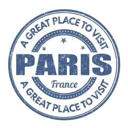 best location: Paris grunge rubber stamp on white background, vector illustration