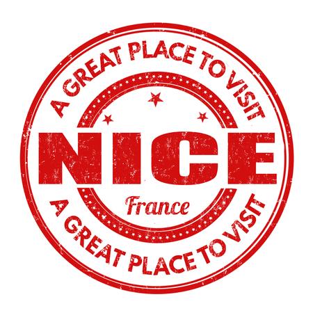 nice france: Nice grunge rubber stamp on white background, vector illustration Illustration