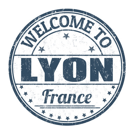 francaise: Welcome to Lyon grunge rubber stamp on white background, vector illustration