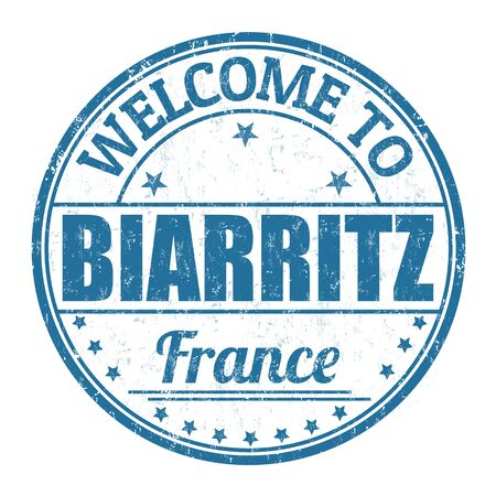 francaise: Welcome to Biarritz grunge rubber stamp on white background, vector illustration Illustration