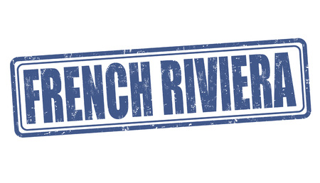 french culture: French riviera grunge rubber stamp on white background, vector illustration