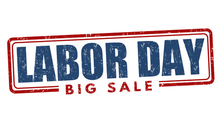 labour: Labor day big sale grunge rubber stamp on white background