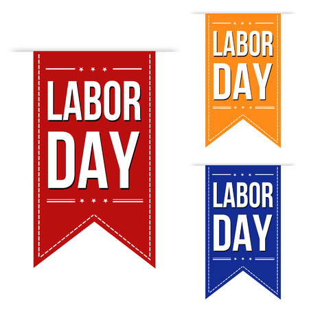 labour: Happy Labor day banner design set over a white background, vector illustration