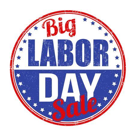 Big Labor day  sale grunge rubber stamp on white background, vector illustration