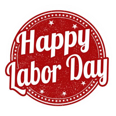 白い背景のベクトル図に幸せな労働者の日グランジ ゴム印