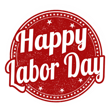 labour: Happy Labor day grunge rubber stamp on white background, vector illustration
