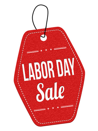 leather label: Labor day sale red leather label or price tag on white background, vector illustration