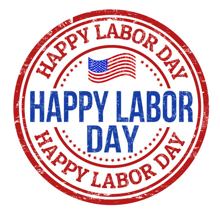 labor: Happy Labor day grunge rubber stamp on white background, vector illustration