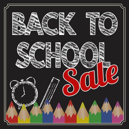 Back to school sale poster with text on chalkboard, vector illustration