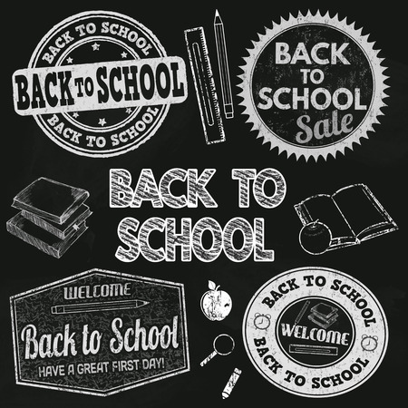 school days: Back to school calligraphic designs label set on black chalkboard, vector illustration