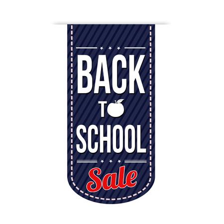 Back to school sale banner design over a white background, vector illustration