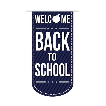 Welcome back to school banner design over a white background, vector illustration