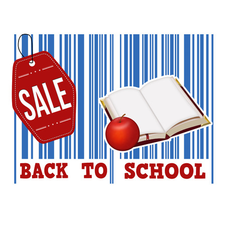 invitation barcode: Back to school sale barcode with book and apple inside on white background, vector illustration