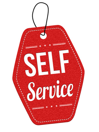 self: Self service red leather label or price tag on white background, vector illustration