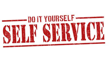 public services: Self service grunge rubber stamp on white background, vector illustration