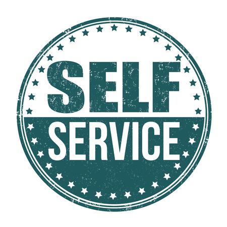 Self service grunge rubber stamp on white background, vector illustration