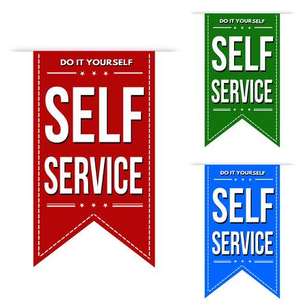 self: Self service banner design set over a white background, vector illustration