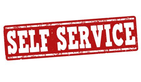 self: Self service grunge rubber stamp on white background, vector illustration