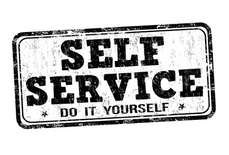 Autoservicio grunge sello de goma en el fondo blanco, ilustración vectorial