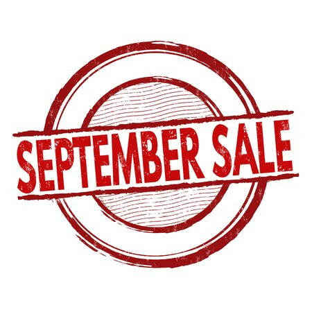 advertised: September sale grunge rubber stamp on white background, vector illustration