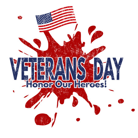 honoring: Grunge rubber stamp with the text Veterans Day written inside, vector illustration