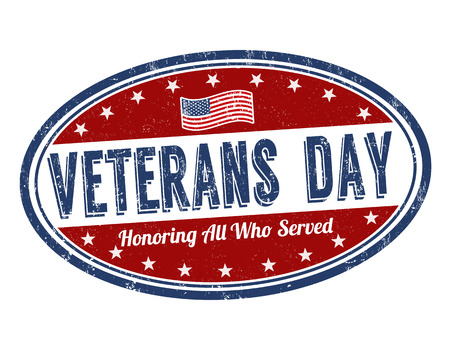 national hero: Grunge rubber stamp with the text Veterans Day written inside, vector illustration